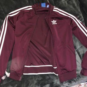Burgundy Adidas Track Jacket XS
